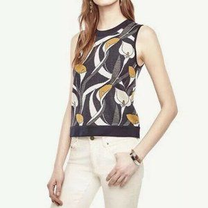 Ann Taylor calla lily knitted sleeveless top large